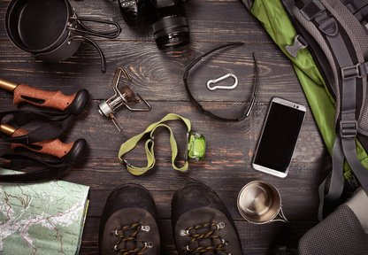 Camping Accessories. Boots, Backpack, Sunglasses, Photo Camera, Map